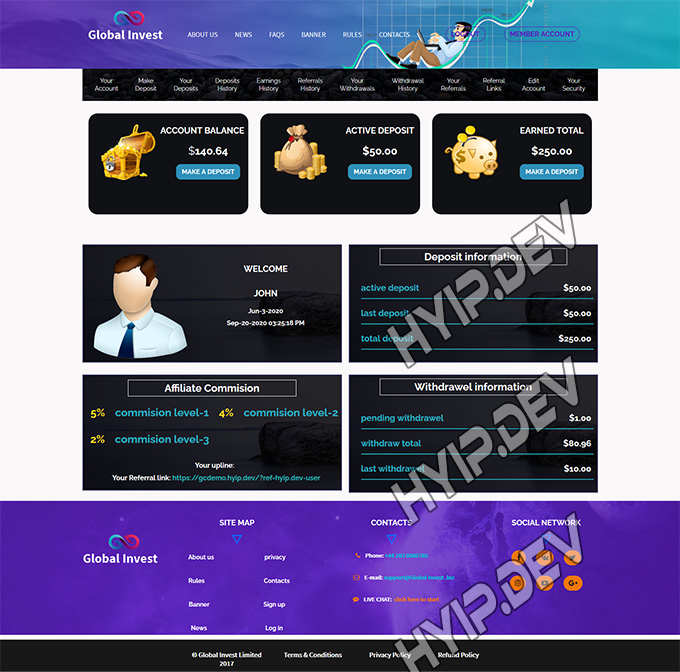 goldcoders hyip template no. 020, account page screenshot