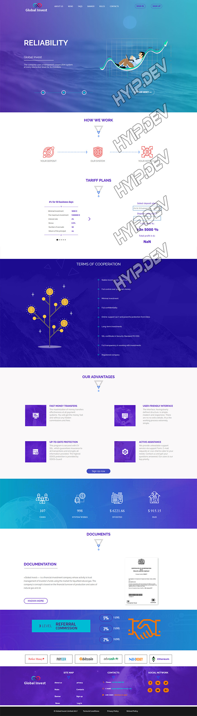 goldcoders hyip template no. 020, home page screenshot