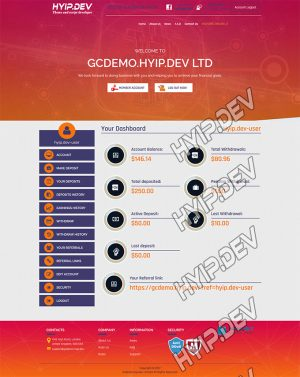 goldcoders hyip template no. 024, account page screenshot