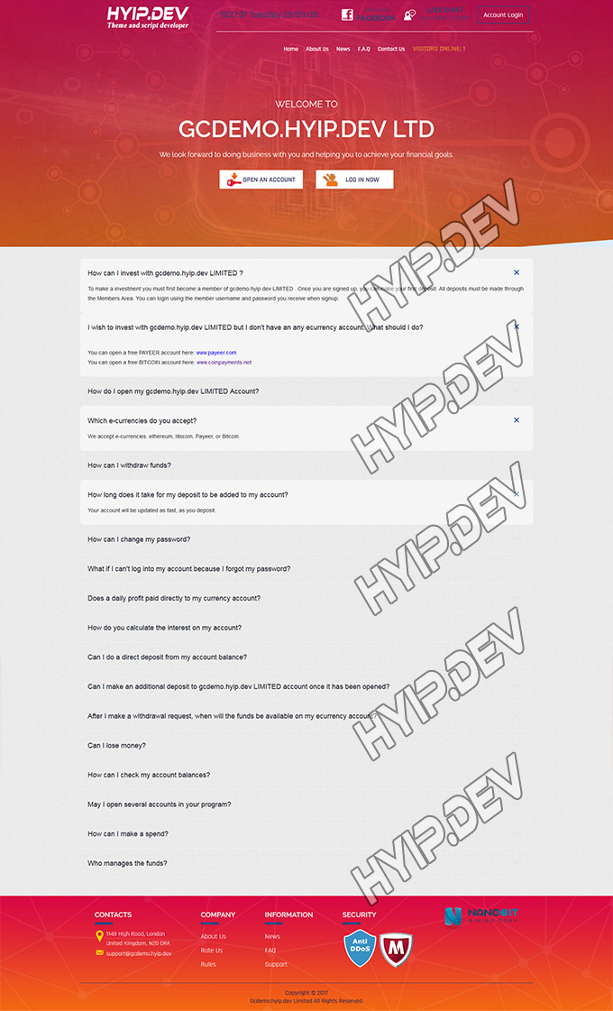 goldcoders hyip template no. 024, pages screenshot