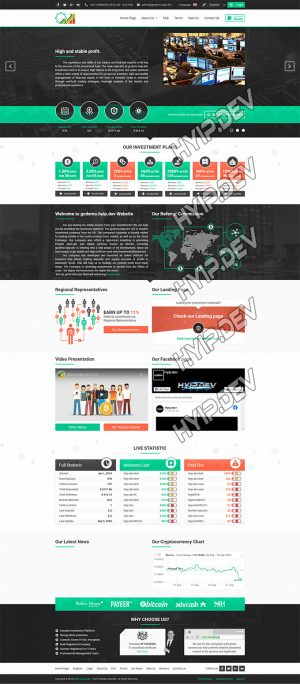 goldcoders hyip template no. 025 home screen