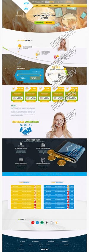 goldcoders hyip template no. 026 home page screenshot