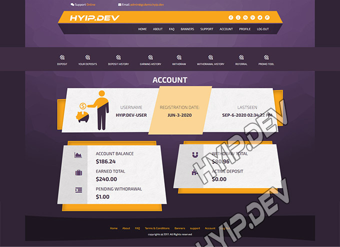 goldcoders hyip template no. 028 , account page screenshot