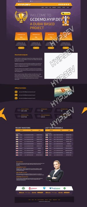 goldcoders hyip template no. 028 , home page screenshot