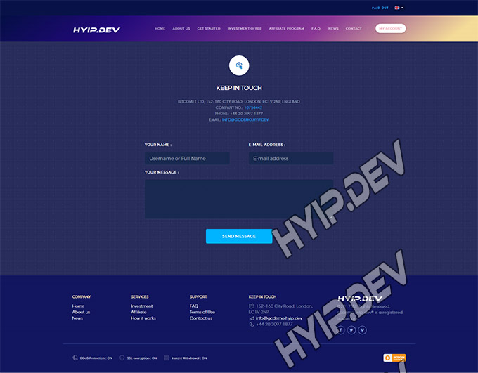 goldcoders hyip template no. 029, support page screenshot