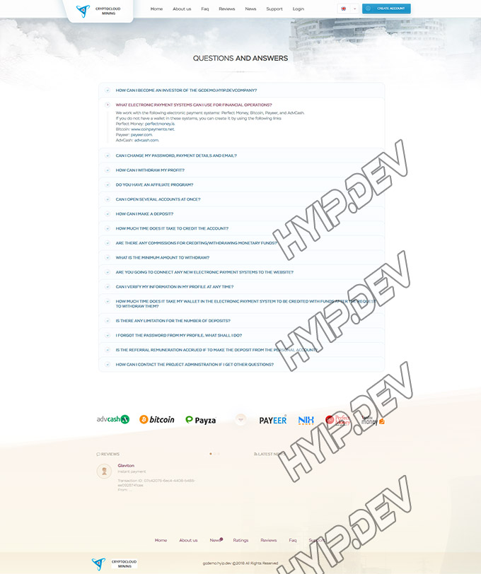 goldcoders hyip template no. 032, pages screenshot