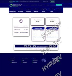 goldcoders hyip template no. 033, account page screenshot