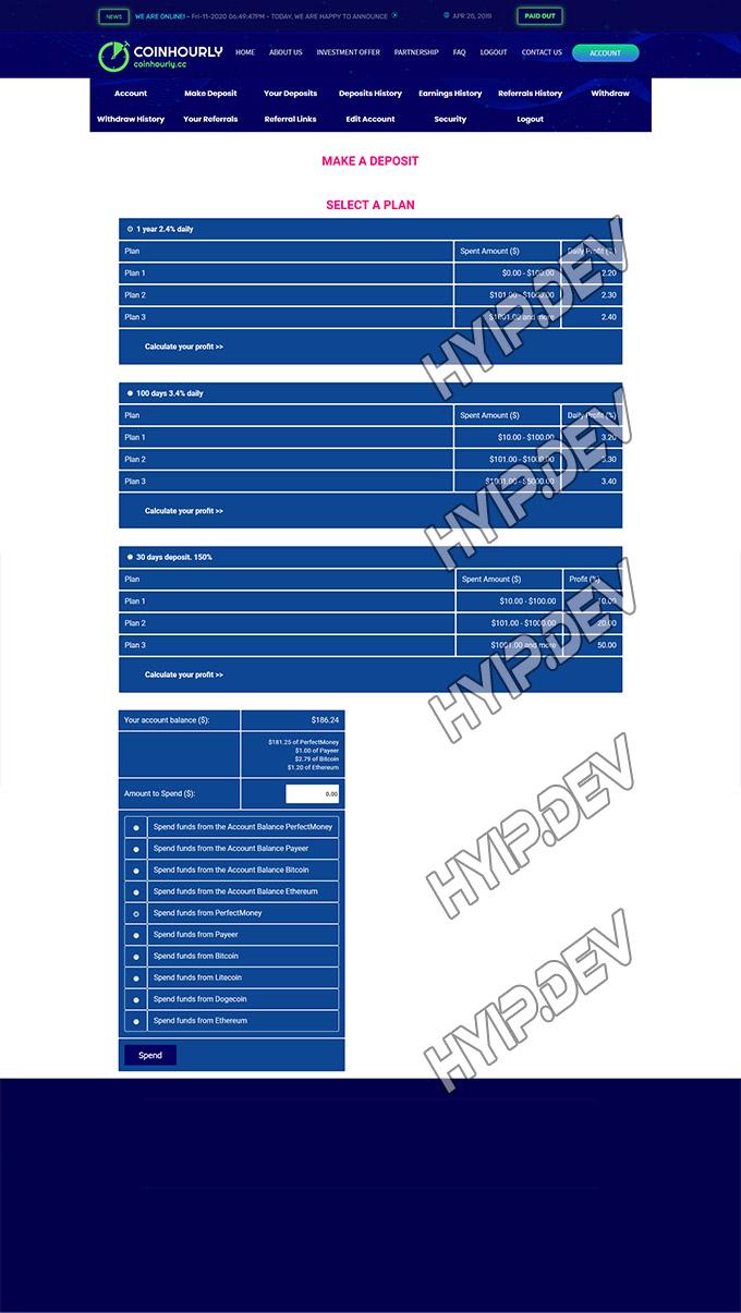 goldcoders hyip template no. 033, deposit page screenshot