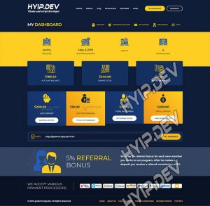 goldcoders hyip template no. 034, account page screenshot