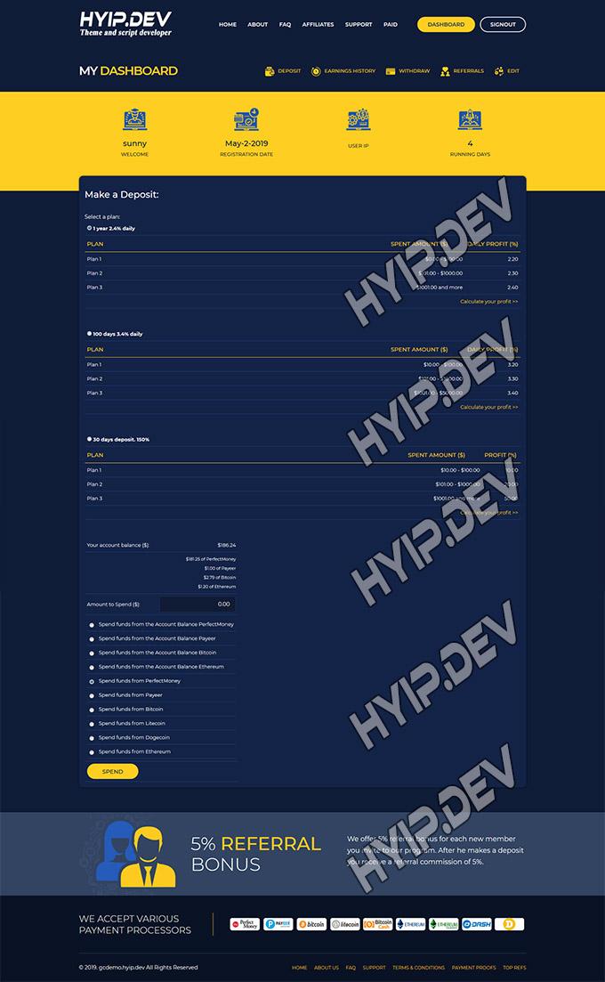 goldcoders hyip template no. 034, deposit page screenshot