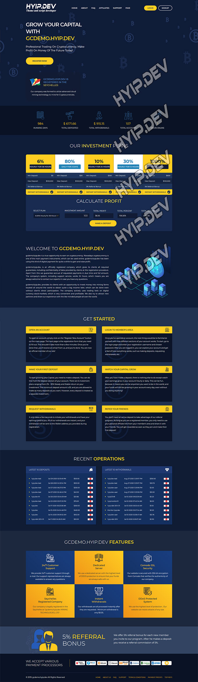 goldcoders hyip template no. 034, home page screenshot