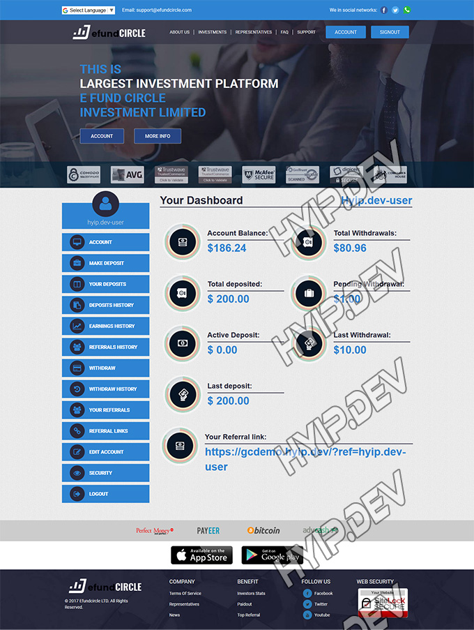 goldcoders hyip template no. 018 account