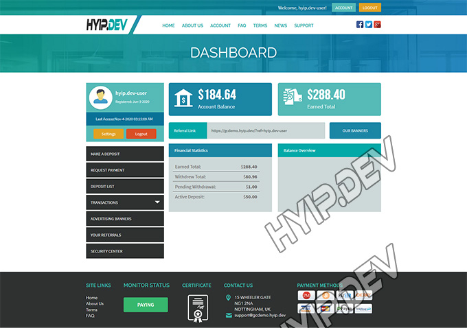 goldcoders hyip template no. 001, account page screenshot