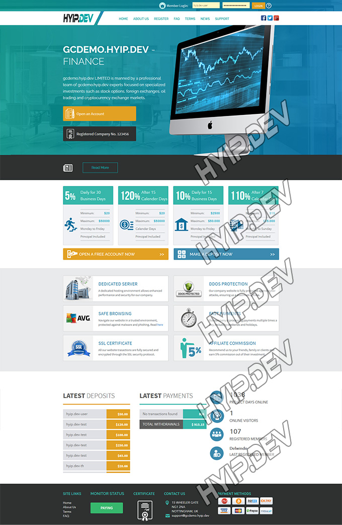 goldcoders hyip template no. 001, home page screenshot