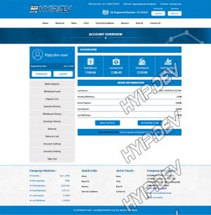 goldcoders hyip template no. 002, account page screenshot