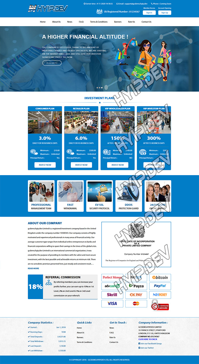 goldcoders hyip template no. 002, home page screenshot