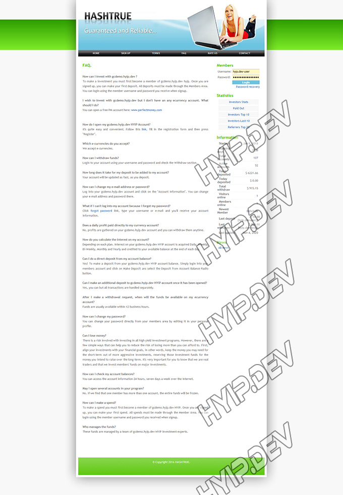 goldcoders hyip template no. 004, default pages screenshot