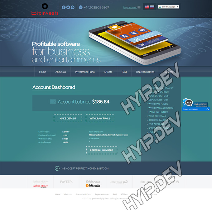 goldcoders hyip template no. 036, account page screenshot