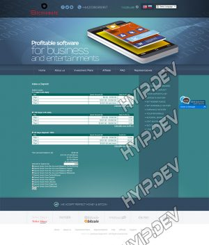 goldcoders hyip template no. 036, deposit page screenshot