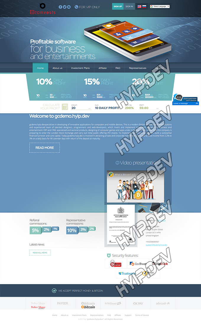 goldcoders hyip template no. 036, home page screenshot