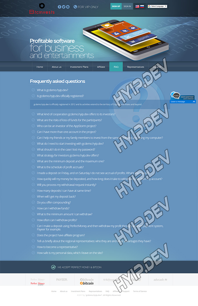 goldcoders hyip template no. 036, default pages screenshot