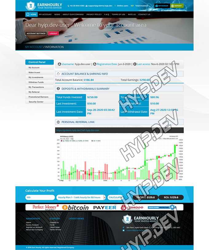 goldcoders hyip template no. 037, account page screenshot