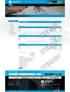 goldcoders hyip template no. 037, deposit page screenshot