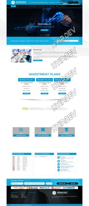 goldcoders hyip template no. 037, home page screenshot