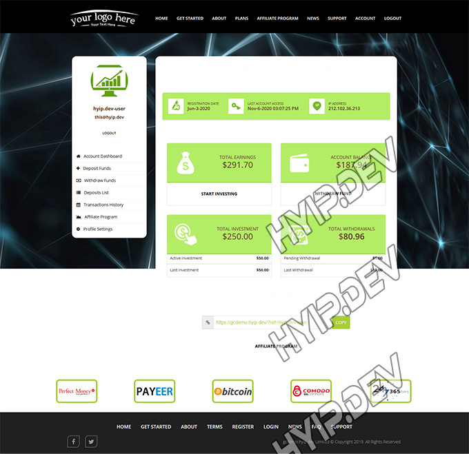 goldcoders hyip template no. 038, account page screenshot
