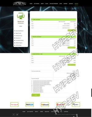 goldcoders hyip template no. 038, deposit page screenshot