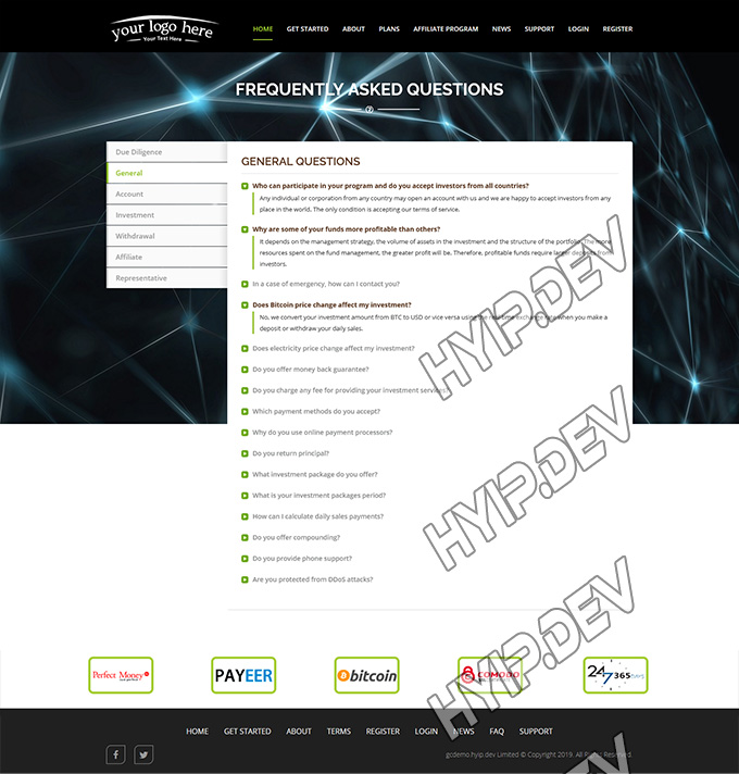 goldcoders hyip template no. 038, default pages screenshot