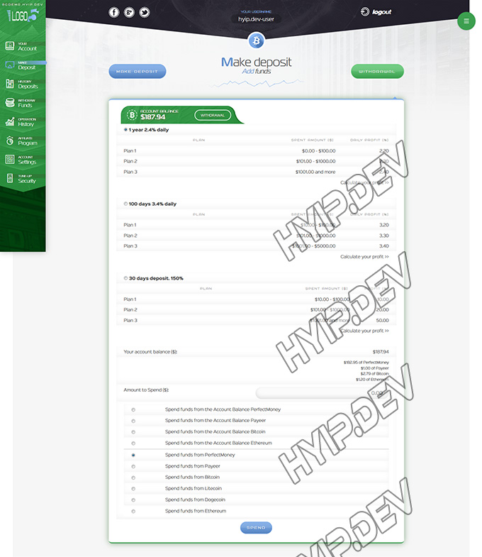 goldcoders hyip template no. 039, deposit page screenshot