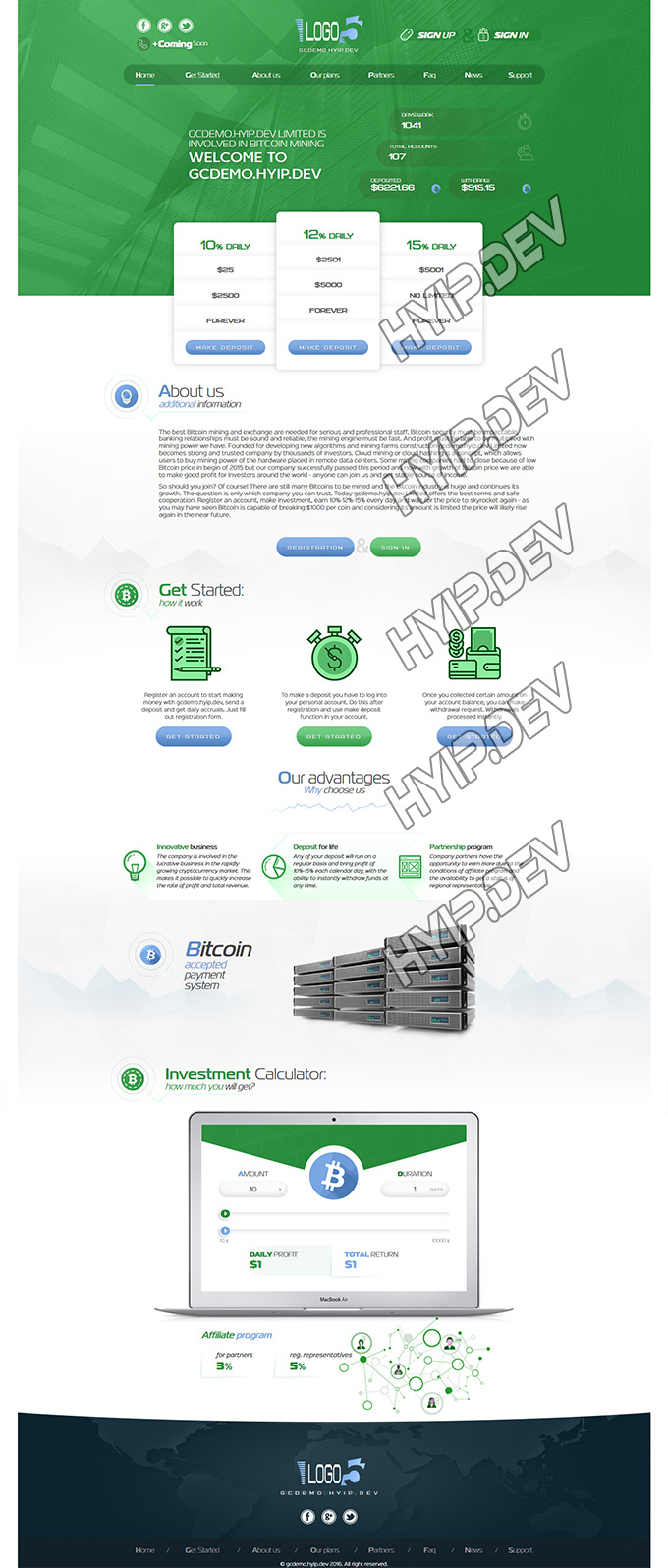 goldcoders hyip template no. 039, home page screenshot
