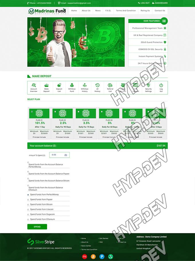 goldcoders hyip template no. 040, deposit page screenshot