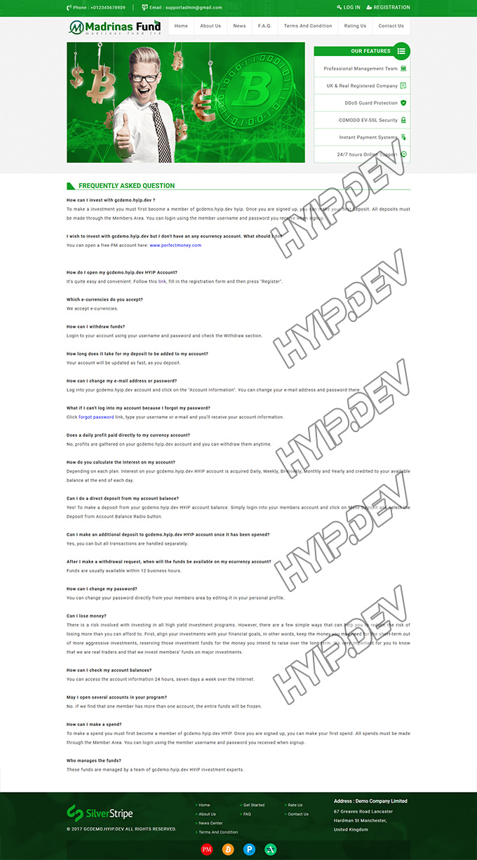 goldcoders hyip template no. 040, default page screenshot