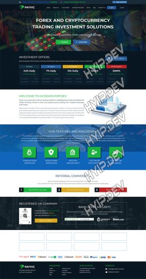 goldcoders hyip template no. 041, home page screenshot