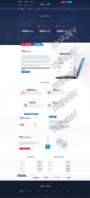 goldcoders hyip template no. 042, home page screenshot