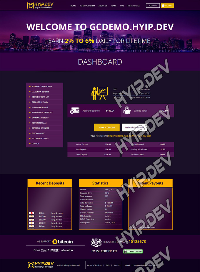 goldcoders hyip template no. 043, account page screenshot