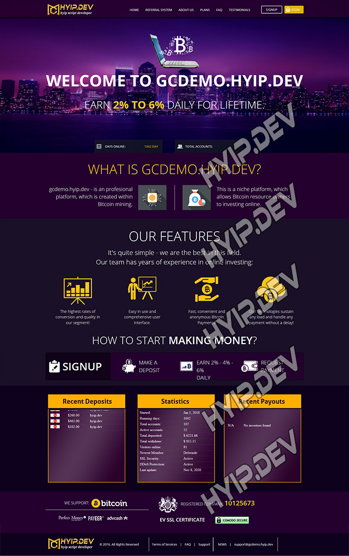 goldcoders hyip template no. 043, home page screenshot