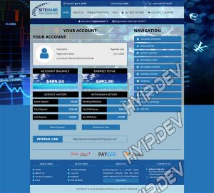 goldcoders hyip template no. 044, account page screenshot