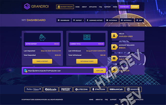 goldcoders hyip template no. 047, account page screenshot