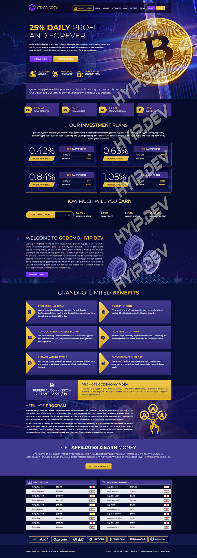 goldcoders hyip template no. 047, home page screenshot