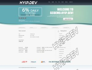 goldcoders hyip template no. 049, account page screenshot