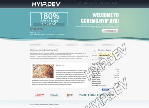 goldcoders hyip template no. 049, home page screenshot