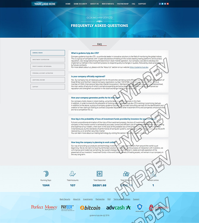 goldcoders hyip template no. 050, default page screenshot