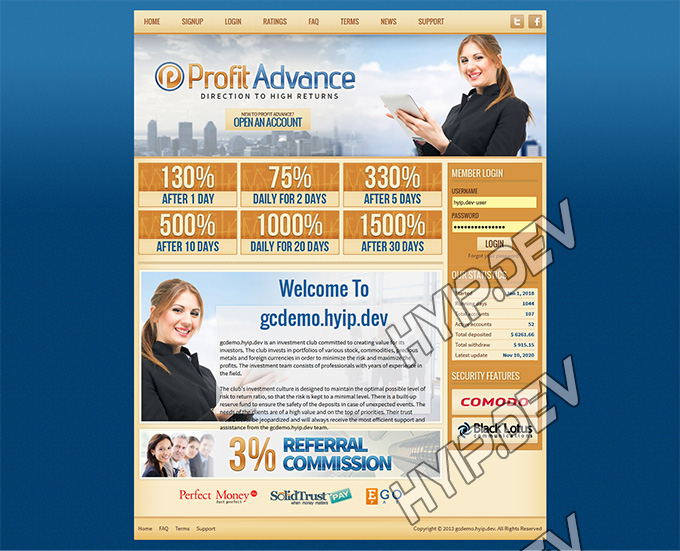 goldcoders hyip template no. 051, home page screenshot