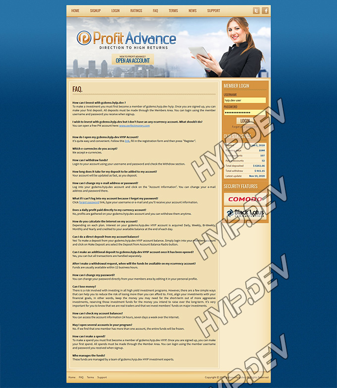 goldcoders hyip template no. 051, default page screenshot