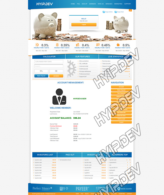 goldcoders hyip template no. 052, account page screenshot