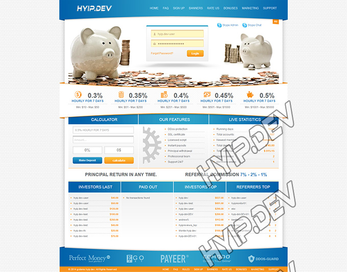 goldcoders hyip template no. 052, home page screenshot