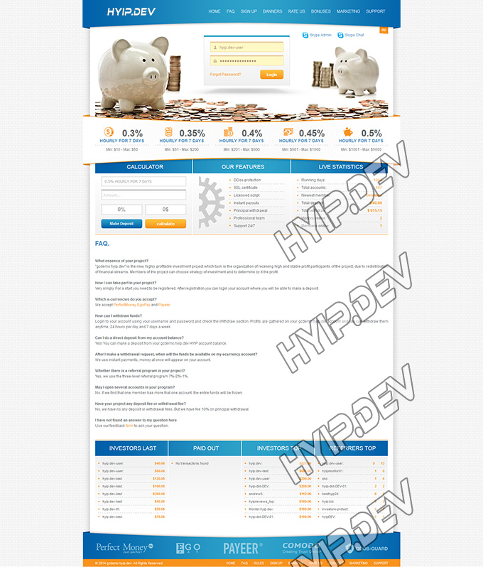 goldcoders hyip template no. 052, default page screenshot
